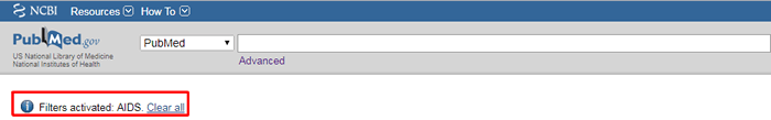 Screenshot of the PubMed homepage with the AIDS special filter applied and the notice boxed in red.