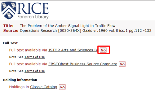 """Screenshot of Fondren Library access options for """"The problem of the amber signal light in traffic flow"""" with the """"Go"""" button for one of them boxed in red."""