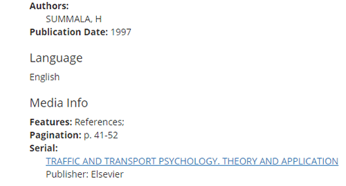 """Screenshot of bibliographic information for """"Hierarchical model of behavioural adaptation and traffic accidents."""""""