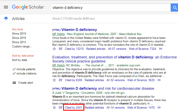 """Screenshot of a Google Scholar search for """"vitamin d deficiency"""" with with one search result and the """"Cited by"""" link below it boxed in red."""
