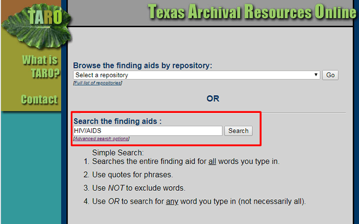 "Screenshot of a TARO search for ""HIV/AIDS."""