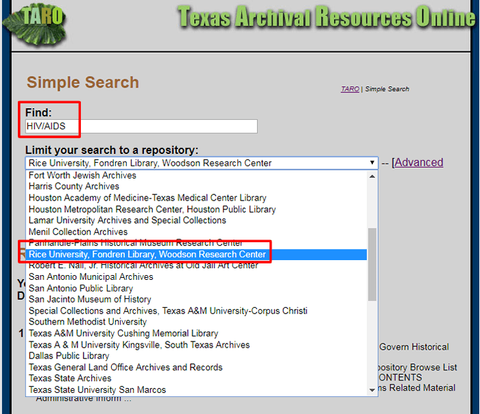 "Screenshot of the results for the above search with the search terms retyped and the ""limit your search to a repository""  drop-down menu open and ""Rice University, Fondren Library, Woodson Research Center"" highlighted."