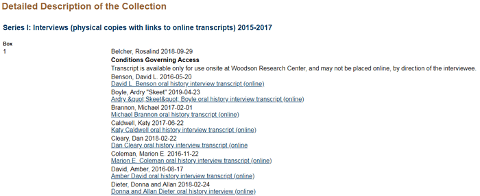 "Screenshot of the ""Detailed Description of the Collection"" section of the ""Guide to the oH Project..."" page."