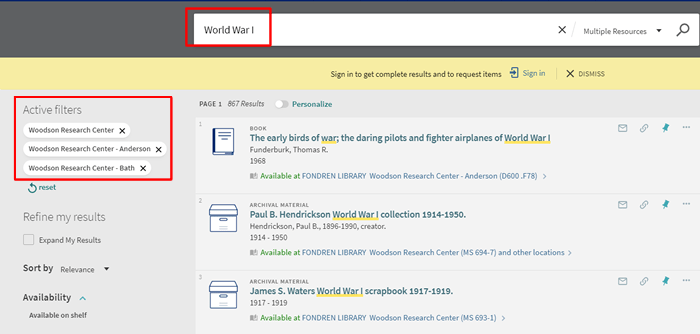 "Screenshot of a OneSearch search for ""World War I"" with Woodson Research Center library sublocations filters applied."