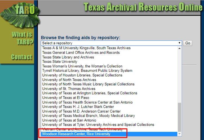 "Screenshot of the ""Select a repository"" drop-down menu in TARO with ""Woodson Research Center, Rice University"" highlighted."