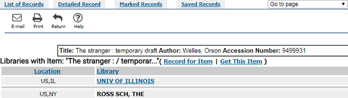 "Screenshot of the libraries that hold ""The stranger: temporary draft."""