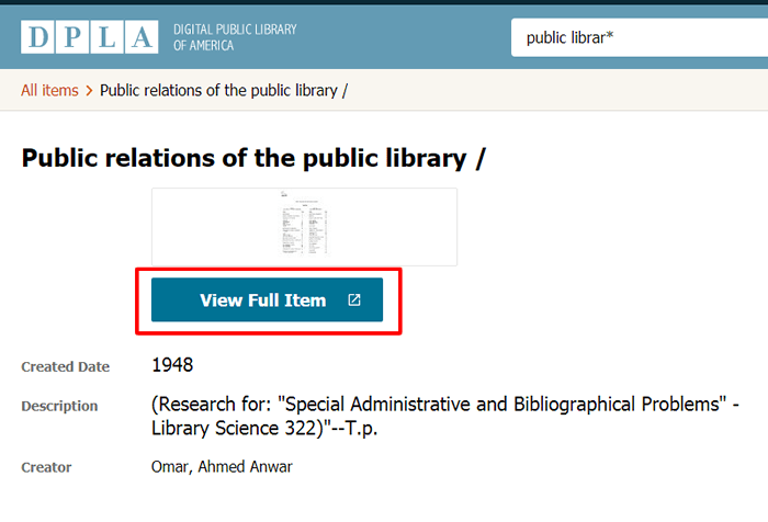 "Screenshot of a record in dp.la for a document titled ""Public relations of the public library."""