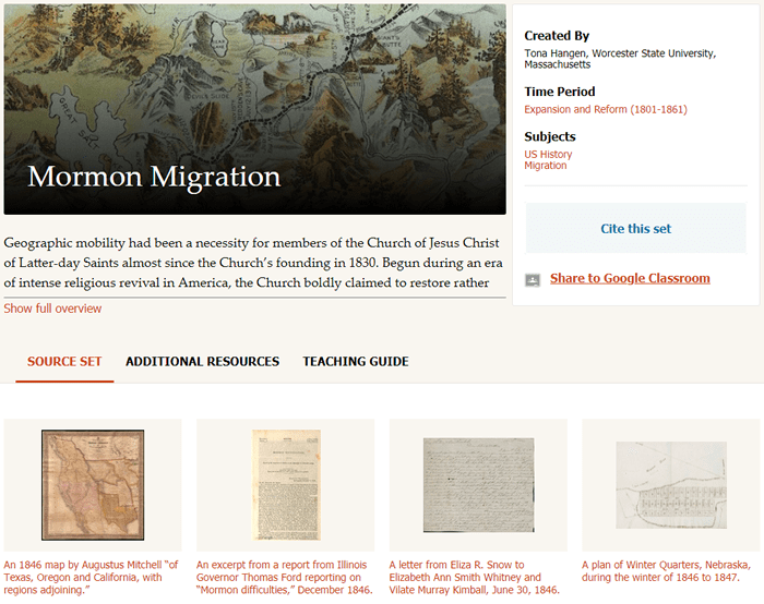 "Screenshot of the ""Mormon Migration"" primary source set from dp.la."
