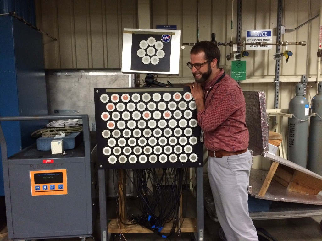 Evan Everett with NASA array, used in SoftNull experiments