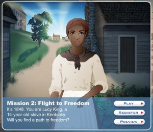 Screen shot from Mission US game