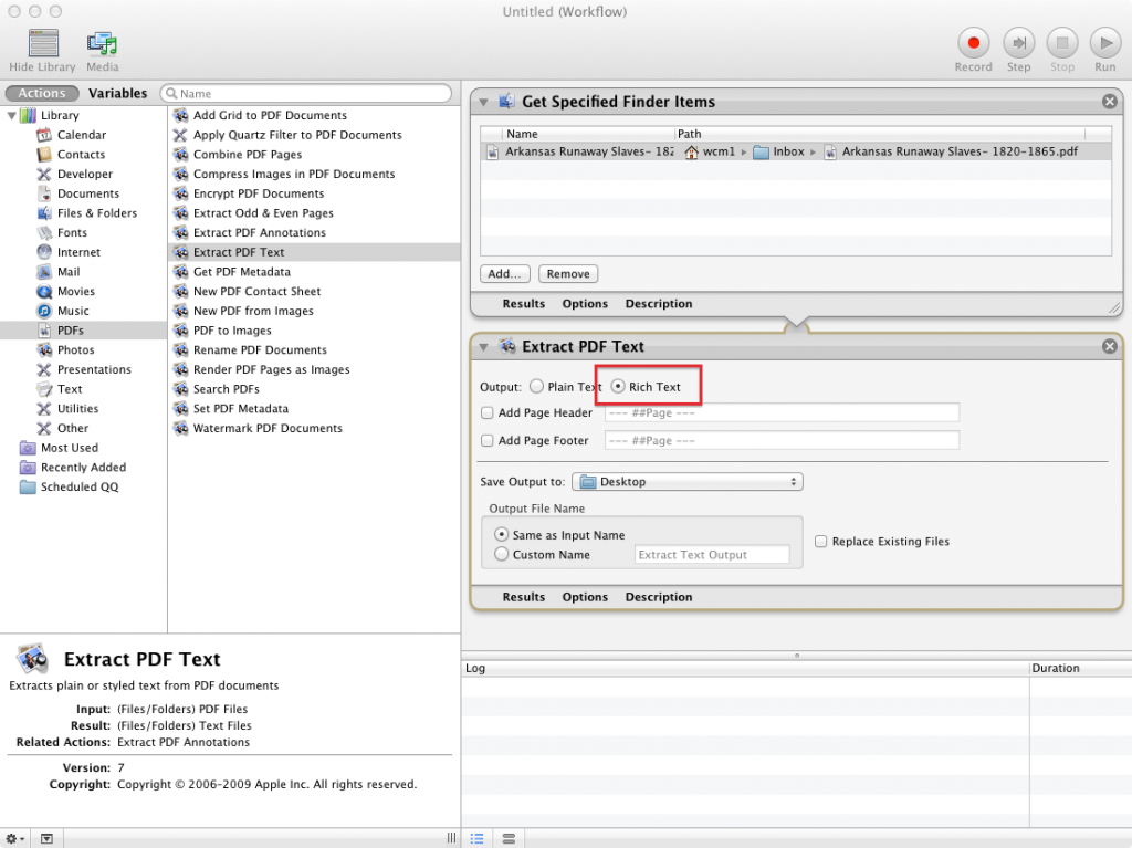Screen shot of Automator workflow