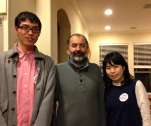 With Dr. Robert Vajtai and Kota at Prof. Kono's Part: I talked with many people and ate delicious foods. I had a great time at the party!