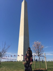 Washington Monument and cherry blossom: It was a pretty day. We enjoyed walking around Washington DC.