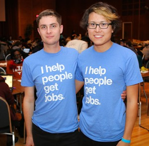 Rice U CS alumni Aaron Roe (right) and Andrew Capshaw represented Indeed.com, one of the sponsors for HackRice 2016.
