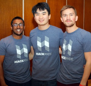 "Three members of the HackRice leadership team, Krishna Thiagarajan (left), ""X"" Liu, and Jake Peacock,."