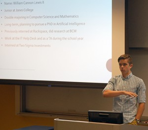 Lewis describes his internship in a Lunch-and-Learn presentation at Rice.