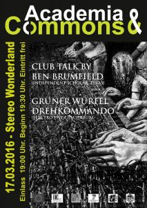 Concert-style poster advertising Brumfield presentation