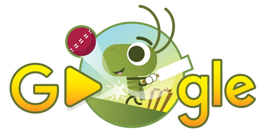 Google Doodle of a cricket (bug) playing cricket (the sport)