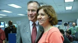 CS alumna Monica Visinsky with former U.S. President George Bush