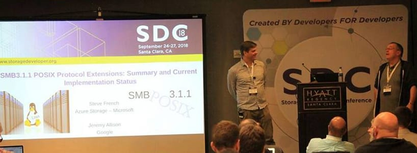 Steve French and Jeremy Allison presenting at a Samba conference.