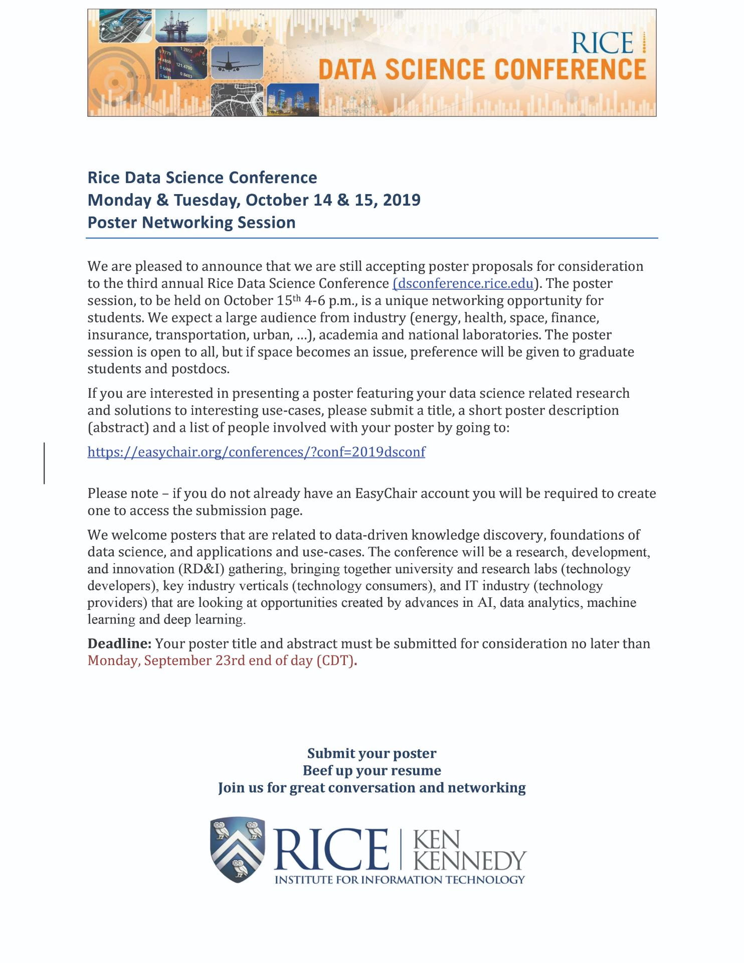 Poster Proposals | 2019 Rice Data Science Conference