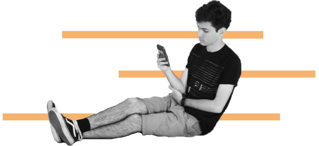 photo of student with cell phone