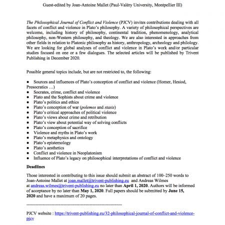 Conflict and Violence in Plato's philosophy/Call for papers