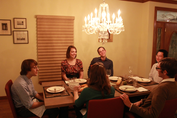Paul Kepley, Jacob Shapiro and fiancé Justin Tittelfitz and wife and Jie Chen at dinner