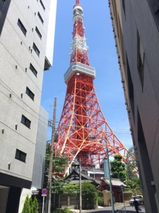 Tokyo Tower: The grandeur of the modern Tokyo Tower juxtaposed with the architecture of old Tokyo. - Rony Ballouz