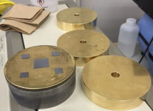 Low-tech: CMP polishing plate with unpolished Si wafers fixed on with wax. ~ Rony Ballouz