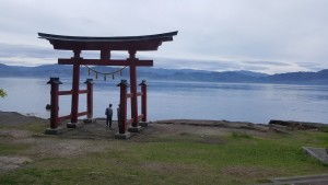 I got a nice shot of the shrine at Lake Tazawa from the bus as we drove around the sides.