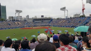 We went to see a Swallows baseball game, and whenever they made a run, fans would pull out their umbrellas and bob them along to the cheers!