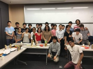 Welcome Party: The lab threw a party on Monday to welcome me and say farewell to Yang Feng, a Chinese research student. It was a nice time with good food—sashimi and pizza! ~ Brianna Garcia