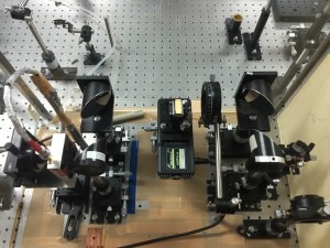 Part of the experimental setup. The tiny gold rectangle in the middle is the parallel plate waveguide. On the left is the detector, and on the right is the emitter. - Daniel Gilmore
