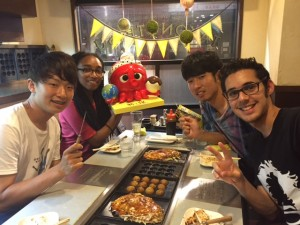Me and some labmates at a Takoyaki restaurant. ~ Mayssa Gregoire