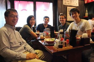Last lunch in Tokyo with Ogawa-san, Youssef, Daniel, and Donald. ~ Erica LIn