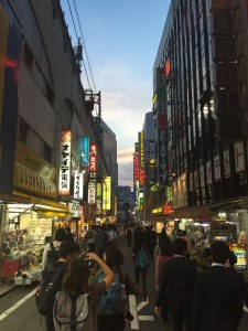 Twilight lights: A dinner outing to Akihabara against a beautiful backdrop of light and color. - Haihao Liu