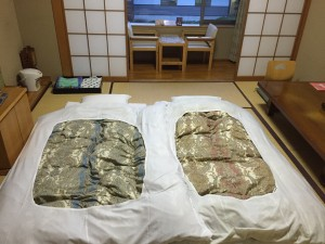 Old-school living: One example of the traditional Japanese culture we got to experience on the trip to Akita. The room was cozy and the futon and tatami were super comfortable! - Haihao Liu