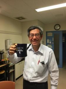 Kanpai: Looks like Saito-sensei likes my present from Rice! - Haihao Liu