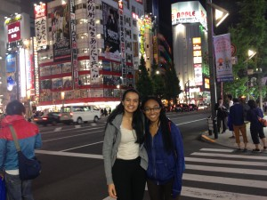 Mayssa and I Akihabara: Used our Suica cards after watching sumo to walk the streets of Akihabara at night. - Submitted by Shweta Modi