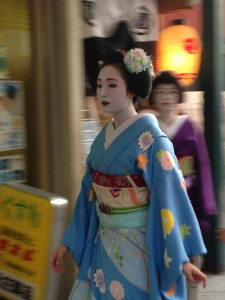 Gion Matsuri Festival, Kyoto: Spotted a Geisha while walking towards the Yamaboko floats. ~ Shweta Modi