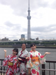 Asakusa: Spent the day wearing yukatas with two friends I made at Chiba University. We visited Sensoji, drank cacao smoothies at Dandelion Chocolate, and played some Pokémon Go! ~ Shweta Modi