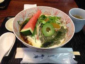 Soba in Kannai: Met up with two friends from Cornell and had this seasonal soba topped with fresh watermelon. We spent the rest of the afternoon in Motomachi looking at Victorian-style houses. ~ Shweta Modi