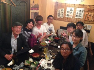 "Welcome Party – Following our weekly meeting, the Tabata Lab went to an izakaya. Usually you can hear a pin drop in our lab rooms, so it was nice to see everyone so lively and even a little ""loud"" for a change."