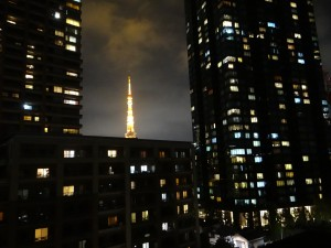 View of Tokyo Tower from my window at night. - Donald Swen