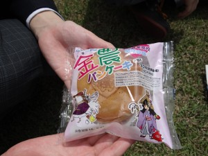 A rice pancake made by local agricultural high schools, sold at Lawsons.