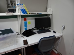 My new workspace fitted with a brand new laptop, monitor, textbooks, and more. - Donald Swen
