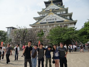 Masahiro (first person on the left) and friends at Osaka Castle. - Donald Swen