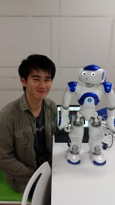 : Nao-kun and I. In the background you can see Yoshimoto-sensei's alpha waves. He is standing nearby, taking this picture! ~ Donald Swen
