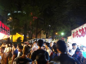 Daniel, Mayssa, Masahiro, and I went to Tenjin Matsuri near Umeda. This was my first time going to a Japanese night festival and I have to say, I have never seen anything like it before. Food and game stalls line the streets and fireworks light the sky and liven the atmosphere. ~ Donald Swen